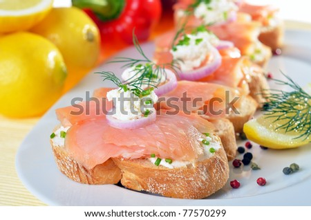 Delicous salmon - stock photo