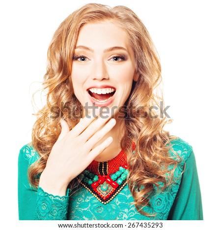 Delight. Surprised Fashion Woman. Surprise concept - stock photo