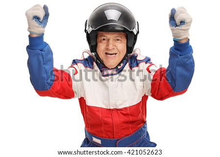 Delighted mature car racer gesturing happiness isolated on white background - stock photo