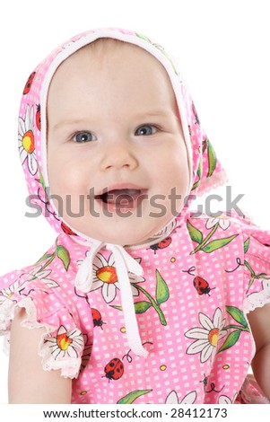 Delightful baby on white background - stock photo