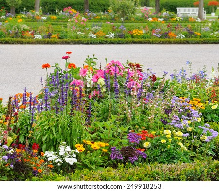 delightful flower bed in the summer park - stock photo