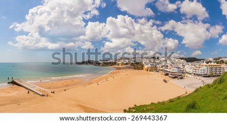 Delightful Spring panorama Albufeira beach fishermen. Portugal Algarve. - stock photo