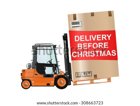 Delivery before christmas. Forklift truck with a huge box on the white background. Raster illustration. - stock photo
