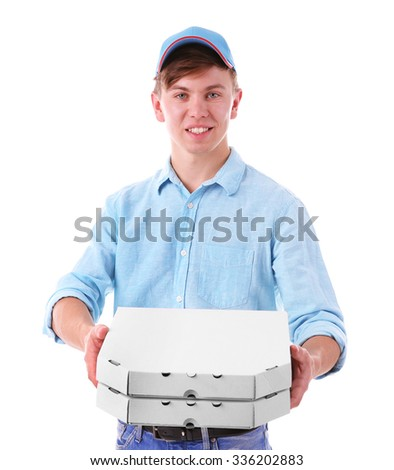 Delivery boy with cardboard pizza boxes isolated on white - stock photo