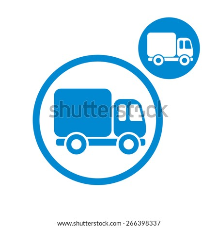 Delivery car small truck simple single color icon isolated on white background, includes invert version for you to choose. - stock photo