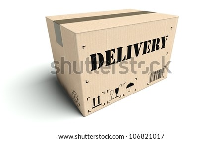 Delivery cardboard box isolated on white background - stock photo