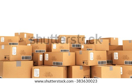 Delivery concept. Cardboard boxes. - stock photo