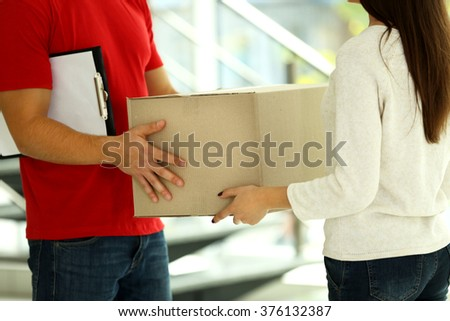 Delivery concept. Receiving package. Close up - stock photo