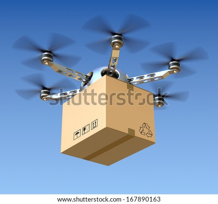 Delivery drone with the package - stock photo