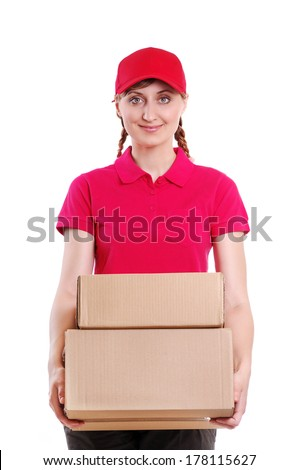 delivery girl wearing red uniform holding the box white background - stock photo
