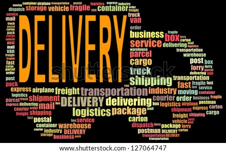 DELIVERY info text graphics and arrangement concept (word clouds) on black background - stock photo