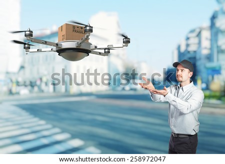 delivery man and 3d drone - stock photo