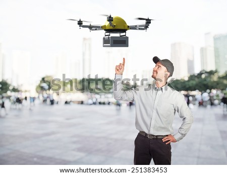 delivery man and futuristic drone 3d - stock photo