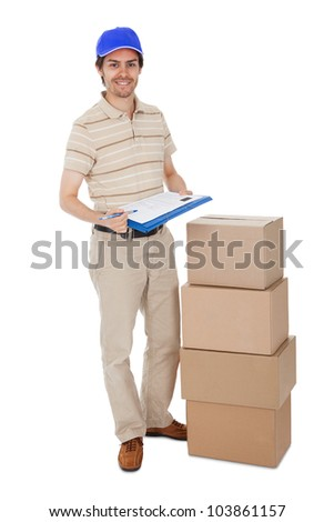 Delivery man asking to sign delivery confirmation. Isolated on white - stock photo