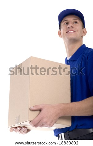Delivery man carrying cardboard box - stock photo