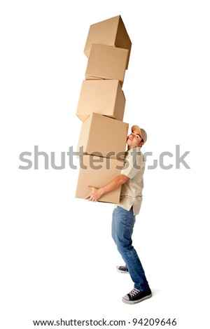 Delivery man carrying heavy boxes - isolated over a white background - stock photo