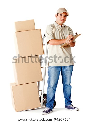 Delivery man holding a clipboard to sign and a trolley - isolated over a white background - stock photo