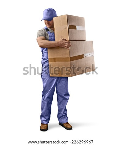 delivery man in green uniform holding a box on a white isolated background - stock photo