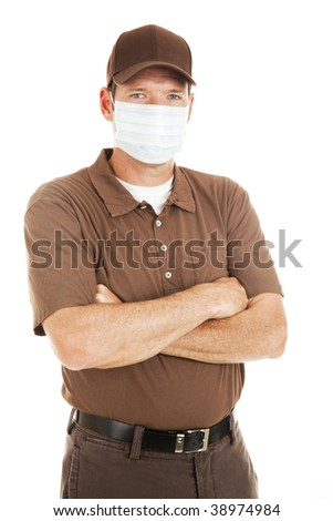 Delivery man wearing flu mask.  Isolated on white. - stock photo