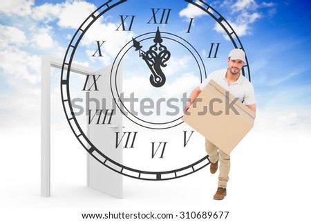 Delivery man with cardboard box running against open door in sky - stock photo