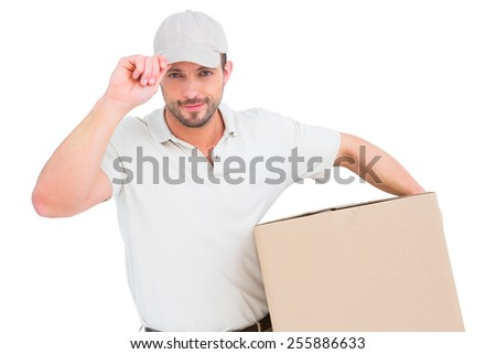 Delivery man with cardboard box wearing cap on white background - stock photo