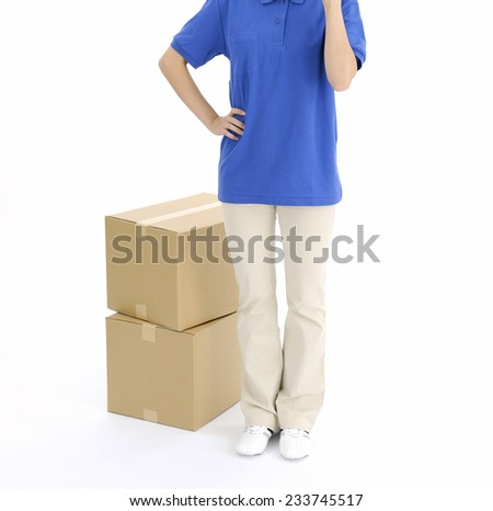 Delivery person delivering packages  - stock photo