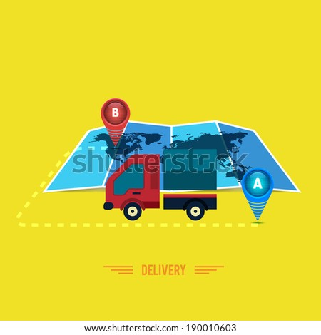 Delivery service 24 hours . Cargo truck symbol. Raster version - stock photo