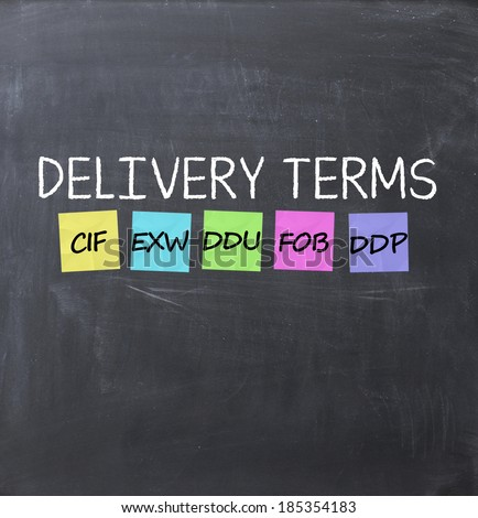 Delivery terms concept text on a blackboard using chalk and adhesive notes - stock photo