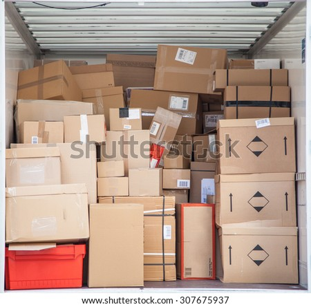 Delivery truck inside with address badges being blurred out, anonymised or removed. - stock photo