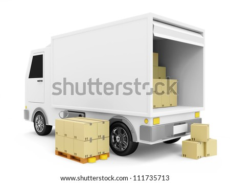 Delivery Van with a Boxes on white background - stock photo