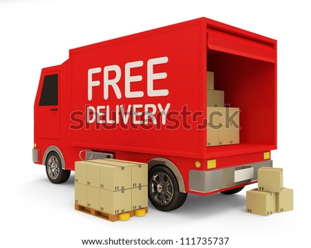 Delivery Van with a Boxes on white background (Free Delivery Concept) - stock photo