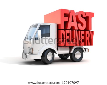 delivery van with fast delivery letters on back  - stock photo