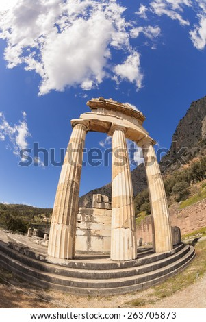 Delphi with famous Temple in Greece - stock photo