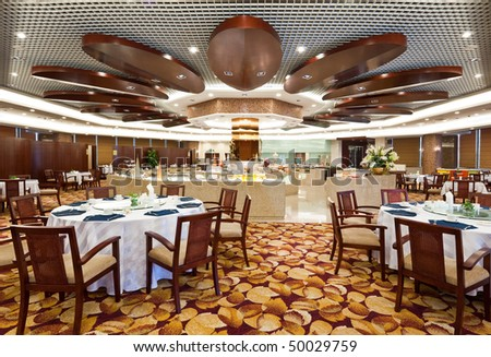 deluxe dining hall in hotel - stock photo