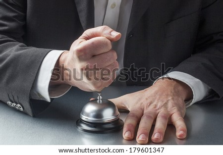 demanding customers and clients in assistance - stock photo