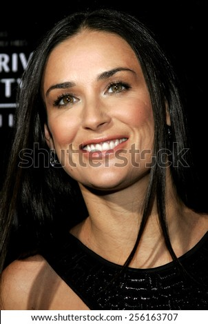 Demi Moore attends the Rodeo Drive Walk Of Style Award honoring Gianni and Donatella Versace held at the Beverly Hills City Hall in Beverly Hills, California on February 8, 2007.  - stock photo