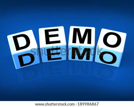 Demo Blocks Indicating Demonstration Test or Try-out a Version - stock photo