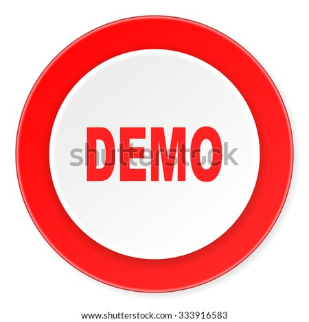 demo red circle 3d modern design flat icon on white background  - stock photo