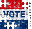 Democracy vote and voting problems and irregularities in casting an election choice that is fair and transparent as a broken puzzle with missing jigsaw pieces as a symbol of American campaign issues. - stock photo