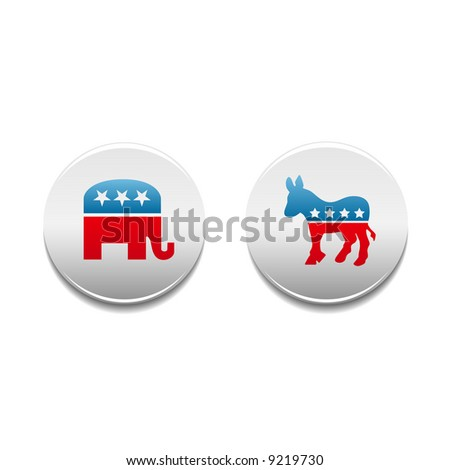 Democrat and Republican donkey and elephant political symbol buttons - stock photo