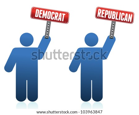 democrat and republican icons illustration over white design - stock photo