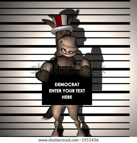 Democrat - Arrested, having his picture taken. Political Humor - stock photo