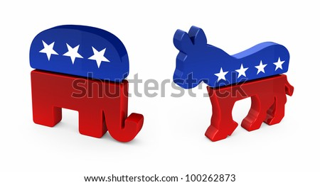 Democrat Donkey and Republican Elephant in 3D over white background - stock photo