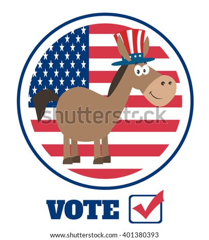 Democrat Donkey Cartoon Character With Uncle Sam Hat Over USA Flag Label With Text Vote. Raster Illustration Flat Design Style Isolated On White - stock photo