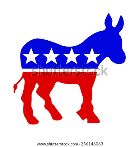 Democrat donkey in red white and blue. Isolated on a white background with a clipping path. - stock photo