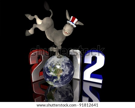 Democrat Kick - 2012 Political Donkey kicking up his back legs while standing on a segmented Earth. Isolated on a black background. - stock photo