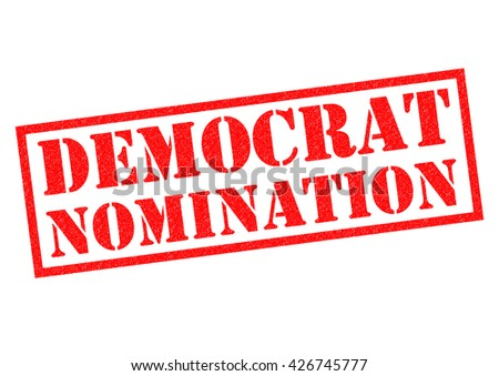 DEMOCRAT NOMINATION over a white background. - stock photo