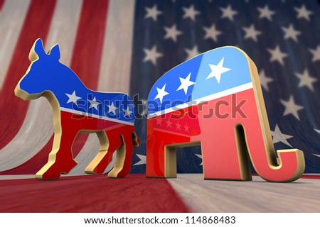 Democrat Party and Republican Party Symbol on an American Flag Background - stock photo