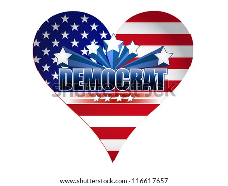 democrat party usa heart illustration design over white - stock photo