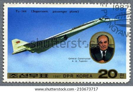 Democratic People's Republic of Korea - CIRCA 1987:A stamps printed in Democratic People's Republic of Korea Tu-144 and General Designer Tupolev, circa 1987  - stock photo